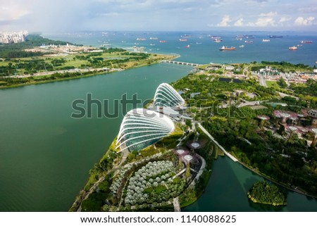 SINGAPORE,SINGAPORE - AUG. 27 : ingapore  aerial view on Auguest 27,2017 in Singapore,Singapore. It is a global commerce, finance and transport hub and has a diversity of languages,religions,cultures. #1140088625