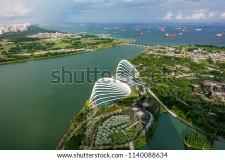 SINGAPORE,SINGAPORE - AUG. 27 : ingapore  aerial view on Auguest 27,2017 in Singapore,Singapore. It is a global commerce, finance and transport hub and has a diversity of languages,religions,cultures. #1140088634