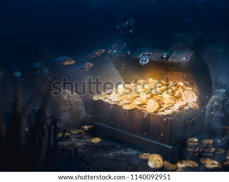 Open treasure chest sunken at the bottom of the sea / high contrast image #1140092951