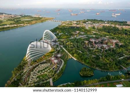 SINGAPORE,SINGAPORE - AUG. 27 : Singapore aerial view on Auguest 27,2017 in Singapore,Singapore. It is a global commerce, finance and transport hub and has a diversity of languages,religions,cultures. #1140152999