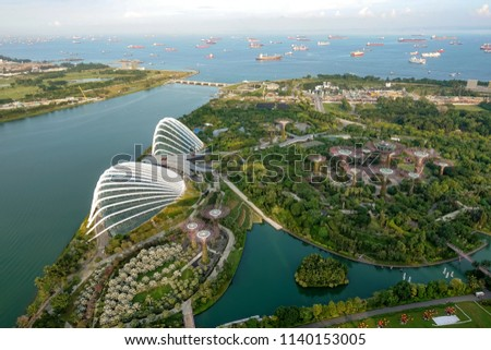 SINGAPORE,SINGAPORE - AUG. 27 : Singapore aerial view on Auguest 27,2017 in Singapore,Singapore. It is a global commerce, finance and transport hub and has a diversity of languages,religions,cultures. #1140153005