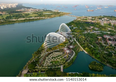 SINGAPORE,SINGAPORE - AUG. 27 : Singapore aerial view on Auguest 27,2017 in Singapore,Singapore. It is a global commerce, finance and transport hub and has a diversity of languages,religions,cultures. #1140153014