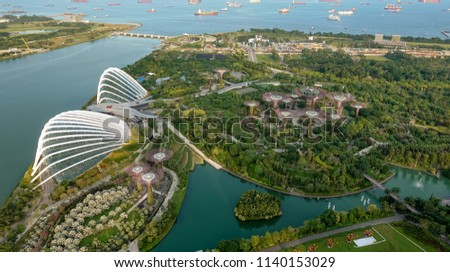 SINGAPORE,SINGAPORE - AUG. 27 : Singapore aerial view on Auguest 27,2017 in Singapore,Singapore. It is a global commerce, finance and transport hub and has a diversity of languages,religions,cultures. #1140153029