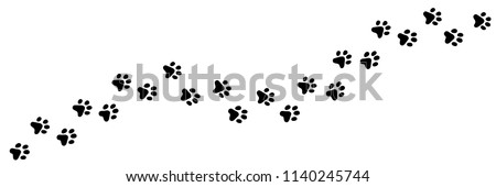 Paw vector foot trail print of cat. Dog, puppy silhouette animal diagonal tracks for t-shirts, backgrounds, patterns, websites, showcases design, greeting cards, child prints and etc. #1140245744