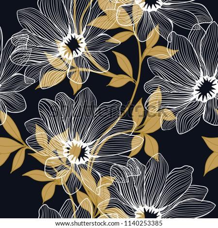 Elegance pattern with flowers and leaf.Floral vector illustration.  #1140253385