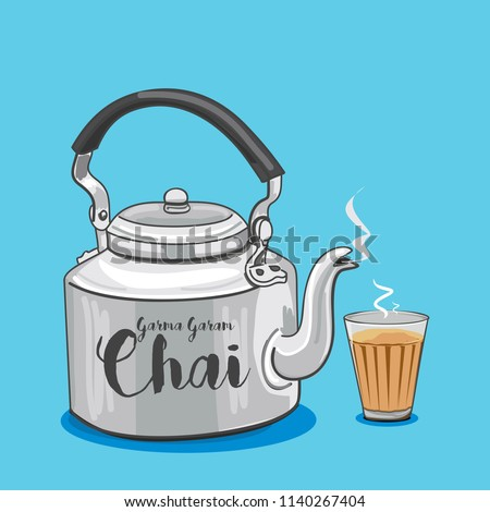 Vector illustration of tea kettle and glass Royalty-Free Stock Photo #1140267404