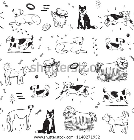 Different doodle dogs seamless pattern.