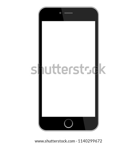 Realistic modern smartphone isolated on white background . Mock up phone with blank screen . Vector illustration