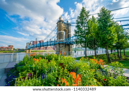 Flowers and the John A. Roebling Suspension Bridge in Cincinnati, Ohio