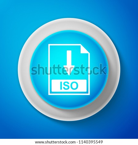White ISO file document icon isolated on blue background. Download ISO button sign. Circle blue button with white line