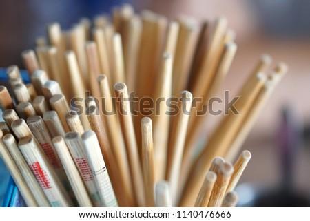 old chinese wooden chopsticks at restaurant #1140476666