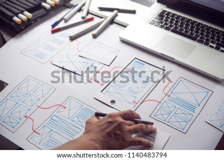 ux Graphic designer creative  sketch planning application process development prototype wireframe for web mobile phone . User experience concept. #1140483794