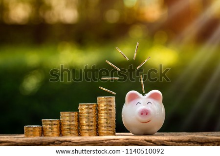 A piggy bank and coin drop on the top with working capital management put on the wood in the public park, Saving money for future investment concept. #1140510092