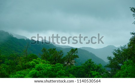 beautiful landscape on western ghat mountain and hills in rainy season #1140530564