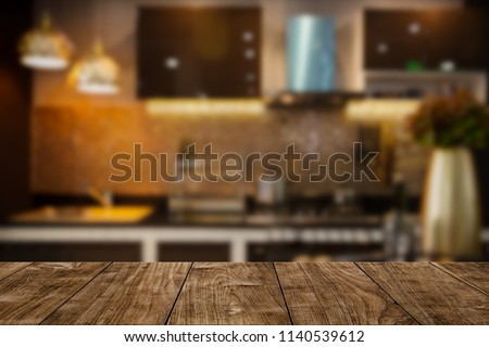 modern luxury kitchen black golden tone with wooden tabletop space for display or montage your products.  #1140539612