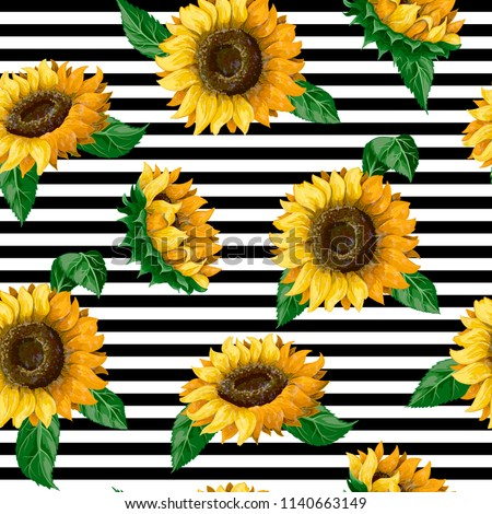 Seamless pattern with sunflowers on a ribbon background. Vector illustration.