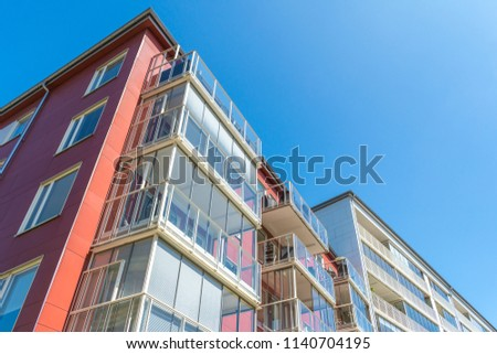 Modern Luxury Scandinavia Apartment Building Blue Sky Facade Home Residential Structure #1140704195