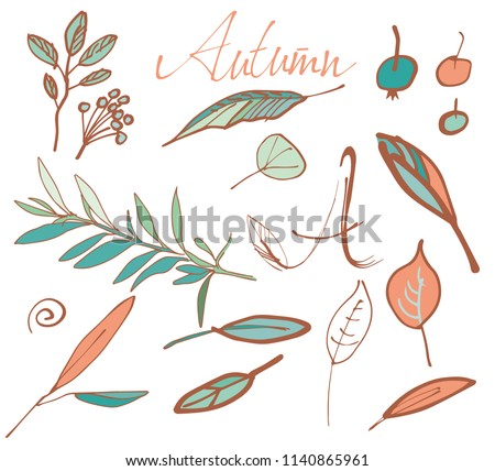 Autumn Leaves Set. Hand Drawn Floral Elements. Vector Illustration. #1140865961