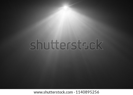 beautiful black and white color wide lens projector with light beam for movie and cinema at night . smoke texture spotlight . screening for multimedia . abstract background . #1140895256