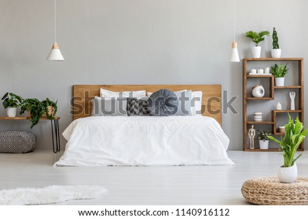 Plant on pouf in bright bedroom interior with pillows on bed with wooden headboard. Real photo #1140916112