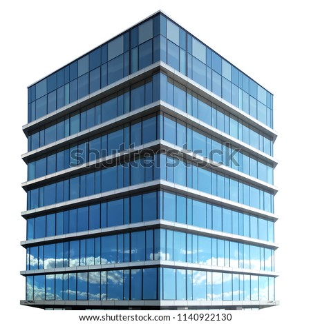 Single business skyscraper isolated on white background. #1140922130