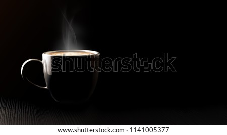 Close up black hot coffee cup and smoke with latte art foam on black wood table at cafe.dark scene.banner space mock up for adding text #1141005377