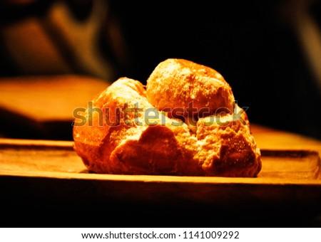 baked bun on a plate #1141009292