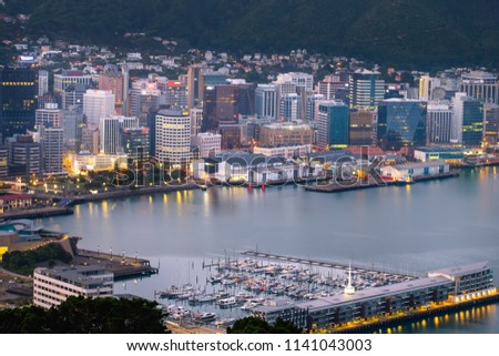 2018, JAN 1 - Wellington, New Zealand, The panorama landscape view of the building and scenery of the city at sunset. #1141043003