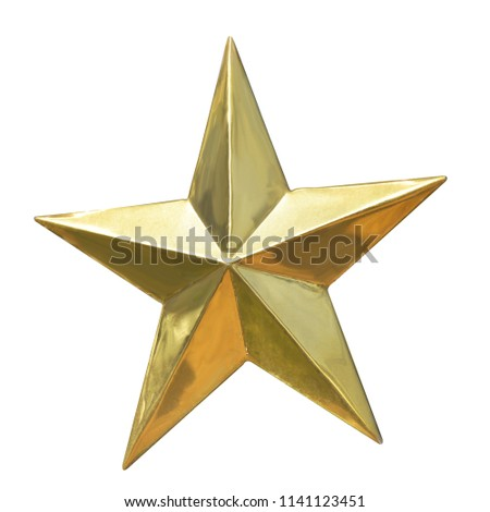 Golden Christmas Star isolated on white Background. Top View Close-Up Gold Star render (isolated on white and clipping path) #1141123451