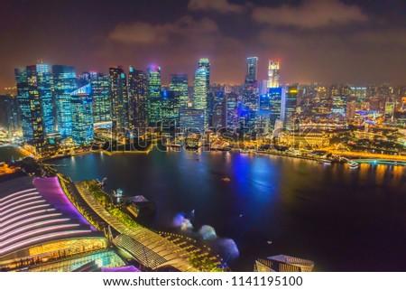 SINGAPORE-July 11, 2018 : landscape of marina bay in Singapore at night. #1141195100