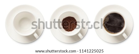 coffee cup assortment top view collection isolated on white background. #1141225025