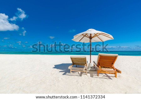 Tropical beach background as summer landscape with lounge chairs and beautiful white sandy beach and calm sea for beach banner #1141372334