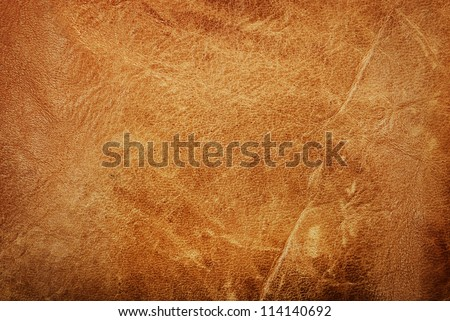 Natural brown leather texture background. Abstract vintage cow skin backdrop design. Royalty-Free Stock Photo #114140692