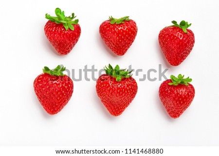 Strawberry. Fresh natural strawberry isolated on white background. Strawberry of different shapes  #1141468880