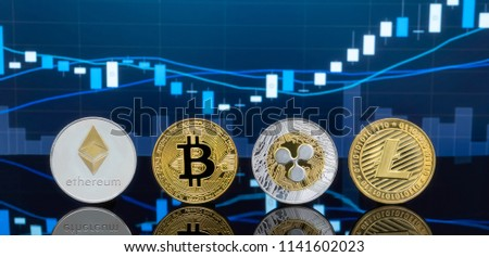 Bitcoin and cryptocurrency investing concept - Physical metal Bitcoin coins with global trading exchange market price chart in the background. #1141602023