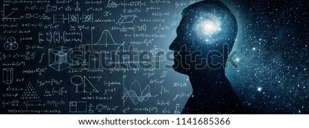 The universe within. Silhouette of a man inside the universe, physical and mathematical formulas.. The concept on scientific and philosophical topics.  Elements of this image furnished by NASA. #1141685366