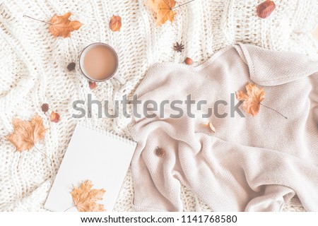 Autumn composition. Cup of coffee, women fashion sweater, dried leaves, plaid, notebook. Autumn, fall concept. Flat lay, top view, copy space #1141768580