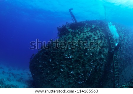 Shipwreck Gainnis D and diver. Red Sea. #114185563