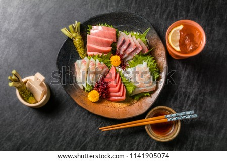 Japanese gourmet sashimi(raw sliced fish, shellfish or crustaceans) #1141905074