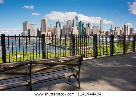New york skyline seen from Brooklyn heights promenade Royalty-Free Stock Photo #1141944494
