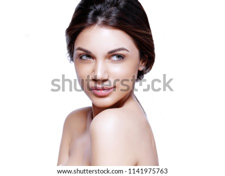Healthy skin girl brunette face closeup isolated on white female beauty woman portrait #1141975763