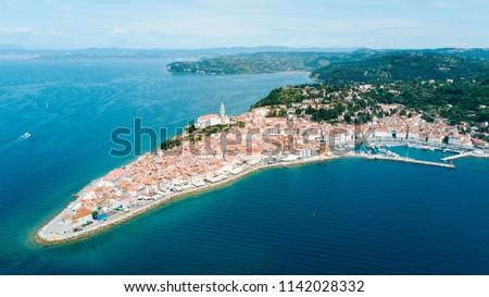 Aerial photo of Piran town - Slovenia, Europe #1142028332