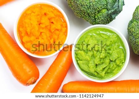 vegetable puree, carrots  pureed ,Broccoli pureed #1142124947