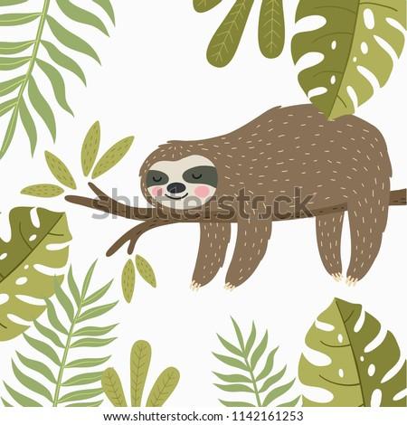 Super cute sloth. Vector print