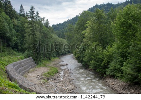 Romania Carpathian mountain Tarcau river  #1142244179