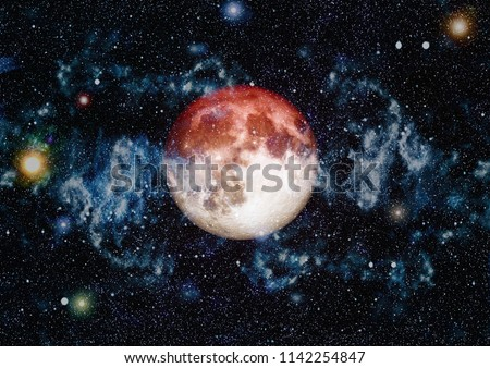 Beautiful red moon in space  - Elements of this Image Furnished by NASA #1142254847