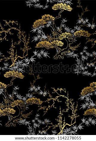 vector seamless japanese chinese pattern gold black traditional