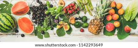 Fruit, vegetables. Summer food background. Flat-lay of seasonal fruit, vegetables and greens over white wooden background, top view. Vegetarian, vegan, dieting, clean eating, weight loss ingredients #1142293649