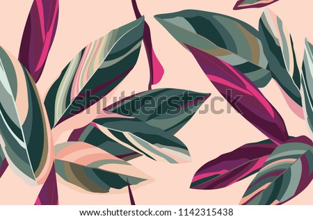 Floral seamless pattern. Leaves of Cordelia on a pink background.