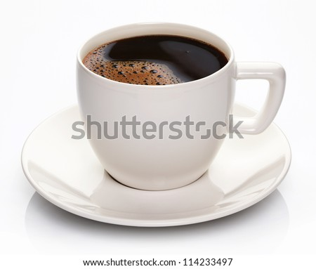 Coffee cup and saucer on a white background. #114233497